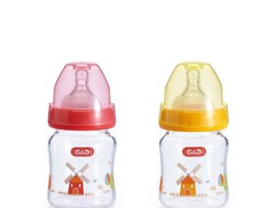 咕咕母婴用品 120mL宝宝宽口径奶瓶 新生儿防胀气玻璃奶瓶