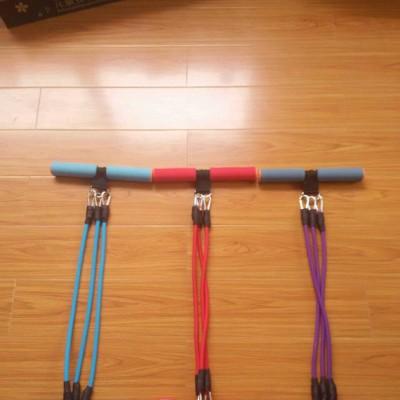 多功能可调节脚踏拉力器脚蹬拉力绳 3股仰卧起坐拉力器 健身